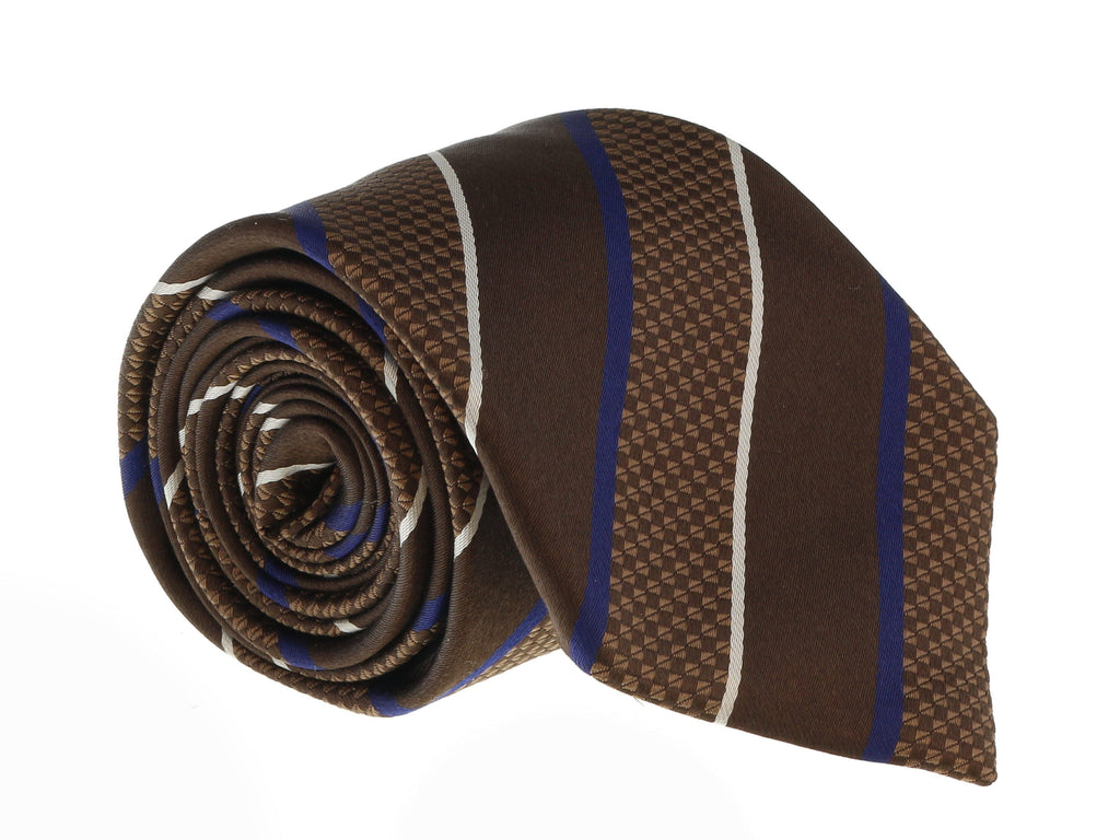 Canali Brown/Blue Pure Silk Traditional Stripe Tie- Blade Width:3in at 104.75
