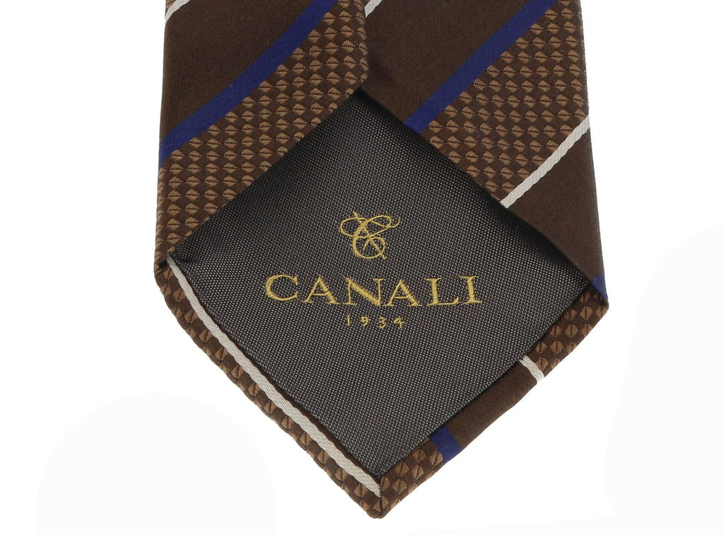 Canali Brown/Blue Pure Silk Traditional Stripe Tie- Blade Width:3in at