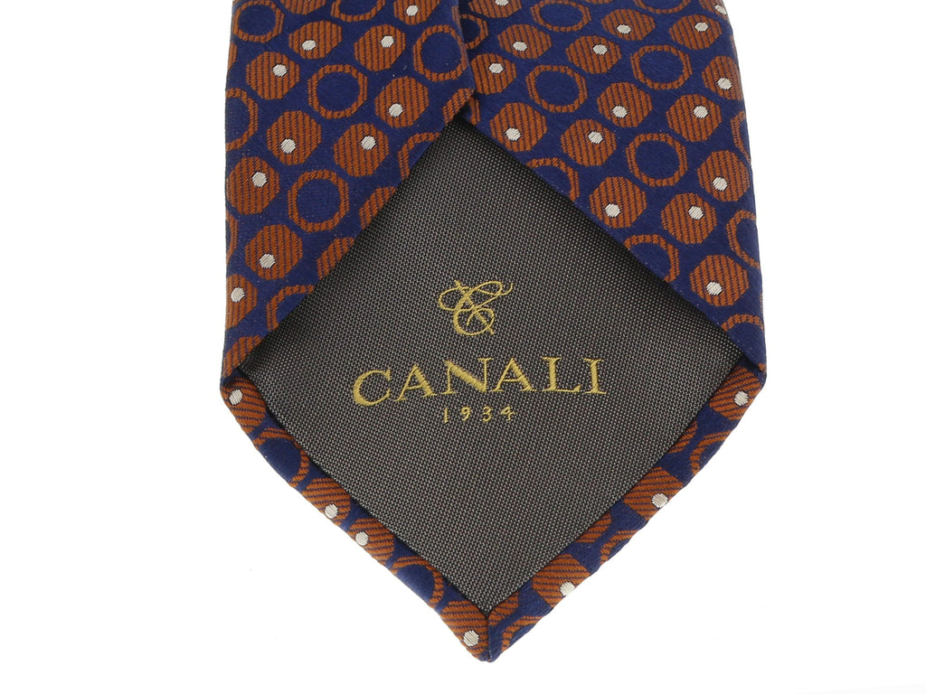 Canali Blue/Bronze Pure Silk Geometric Dot Pattern Tie- Blade Width:3in at