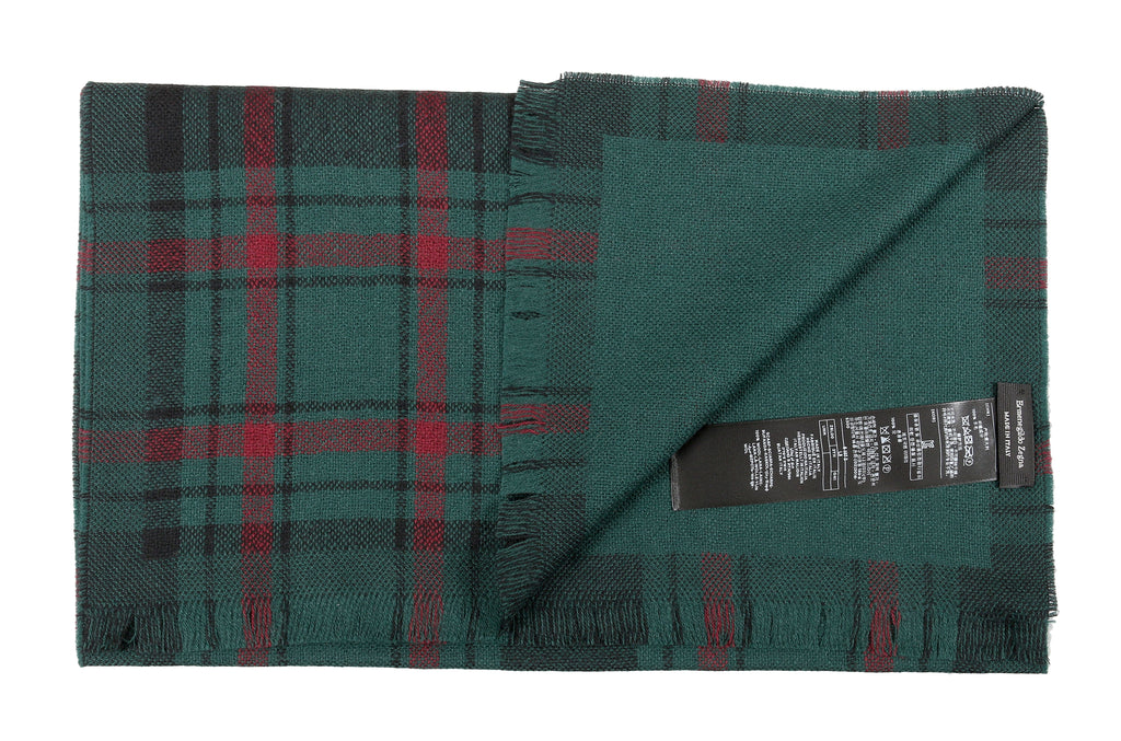 Ermenegildo Zegna Green/Burgundy Plaid Pure Wool Fringe Scarf at