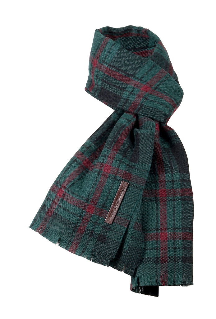 Ermenegildo Zegna Green/Burgundy Plaid Pure Wool Fringe Scarf at 142.85