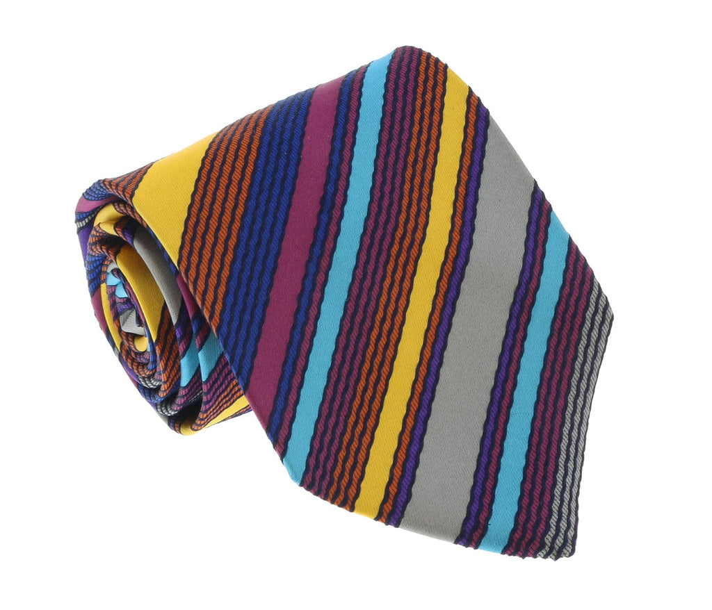 Missoni U8013 Gold/Blue Pencil Stripe 100% Silk Tie at 43.80
