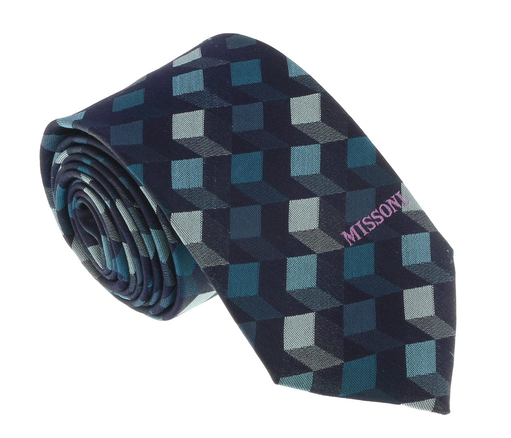 Missoni U5562 Navy/Teal Graphic 100% Silk Tie at 43.80