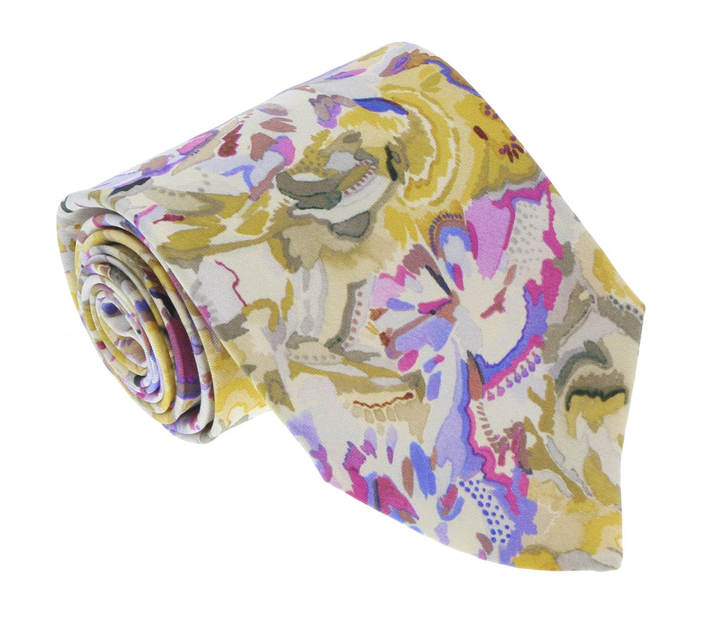 Missoni U1977  Gold/Pink Floral 100% Silk Tie at 43.80