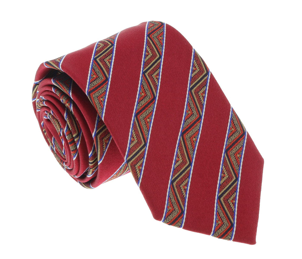 Missoni U5128 Red/Gold Awning 100% Silk Tie at 43.80