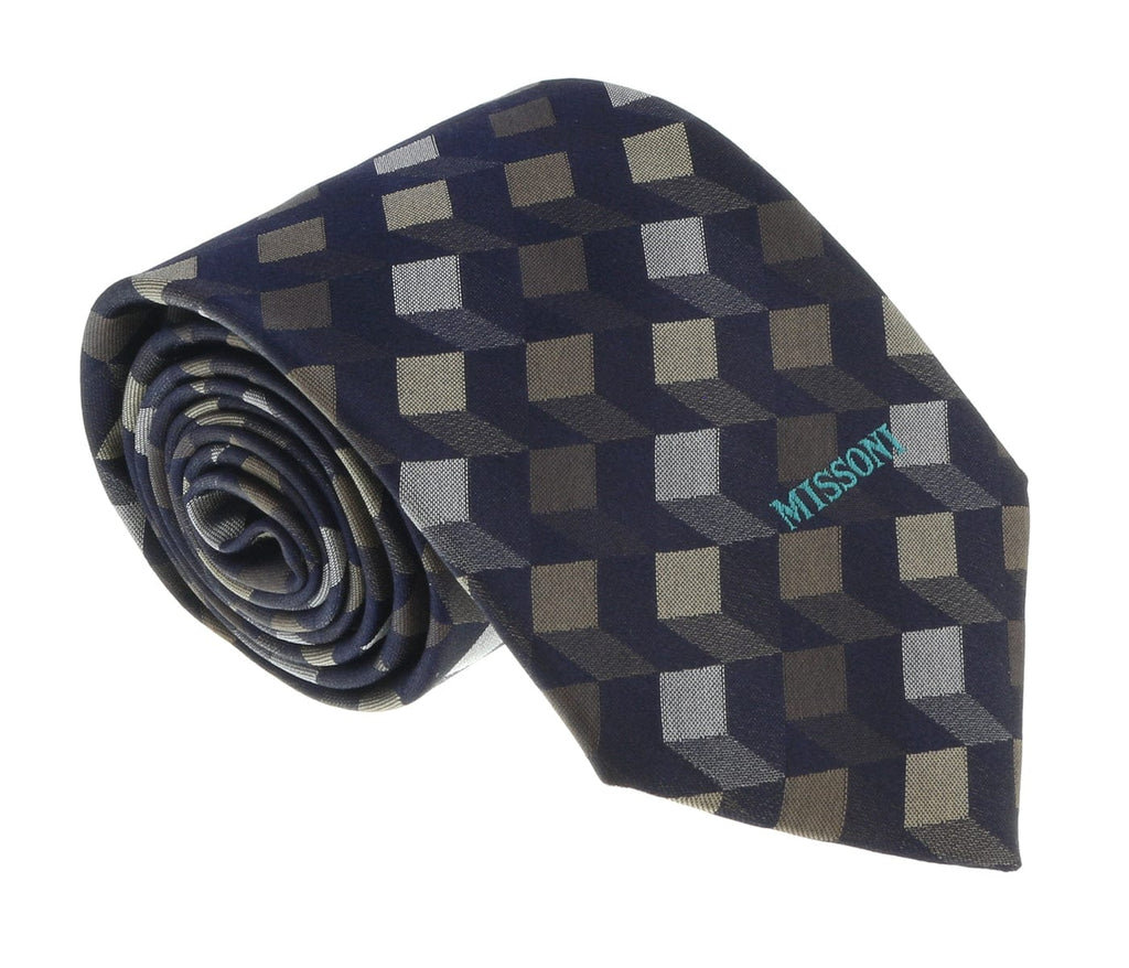 Missoni U5562 Silver/Gold Abstract 100% Silk Tie at 43.80