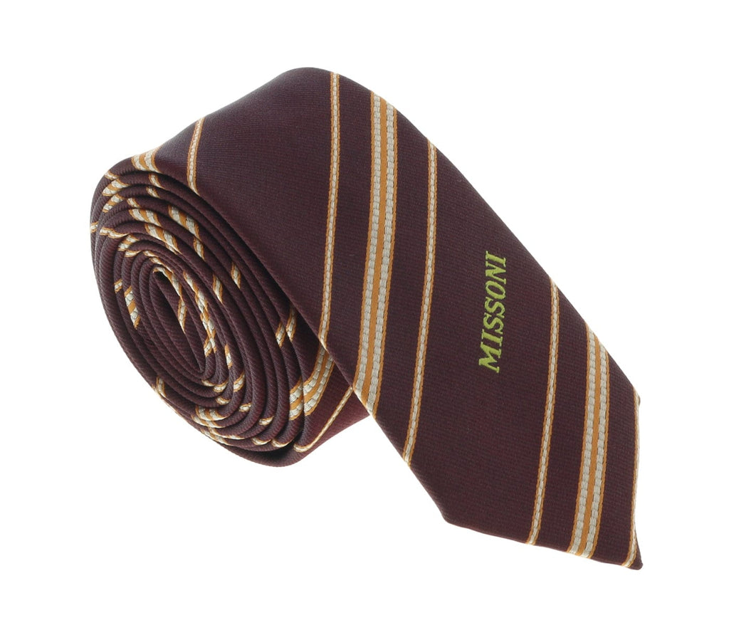 Missoni U5026 Maroon/Gold Repp 100% Silk Tie at 43.80