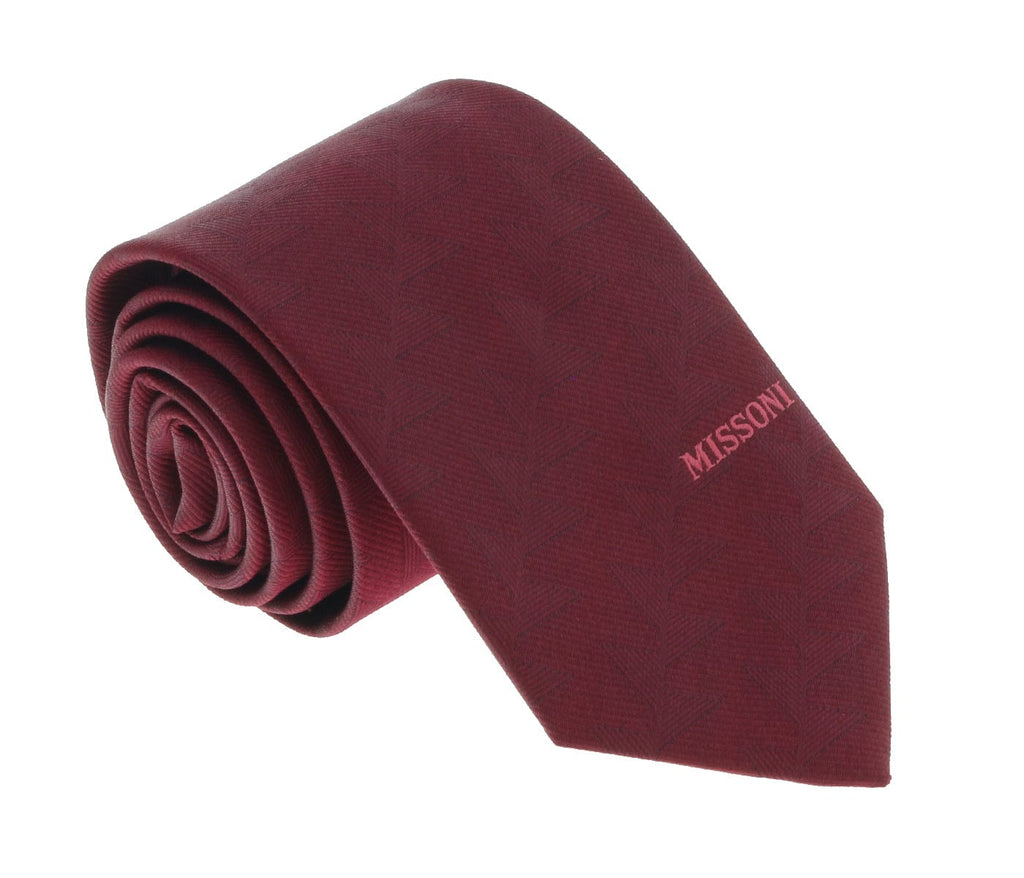 Missoni U5563 Maroon Abstract 100% Silk Tie at 43.80