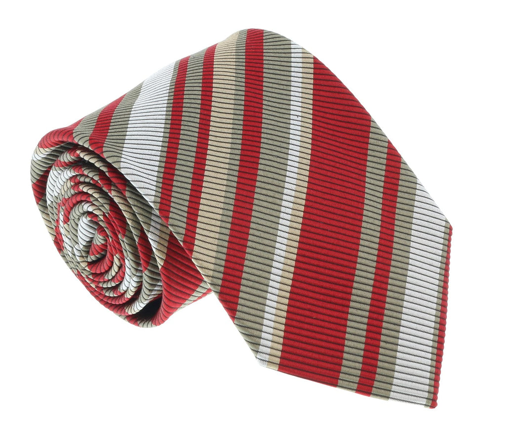 Missoni U4233 Red/Khaki Regimental 100% Silk Tie at 43.80