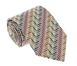 Missoni U4306 Gold/Silver Chevron 100% Silk Tie at 43.80