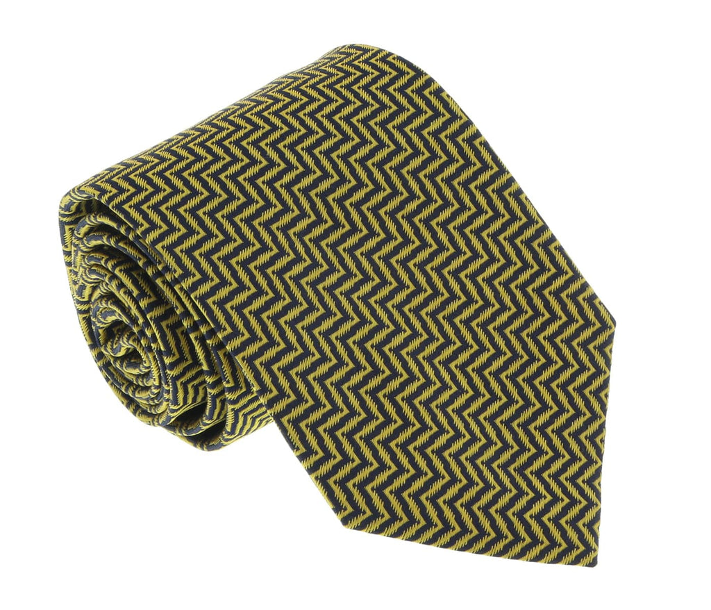 Missoni U4519 Gold Herringbone 100% Silk Tie at 43.80