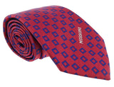 Missoni Square Red/Blue Woven 100% Silk Tie at 43.80