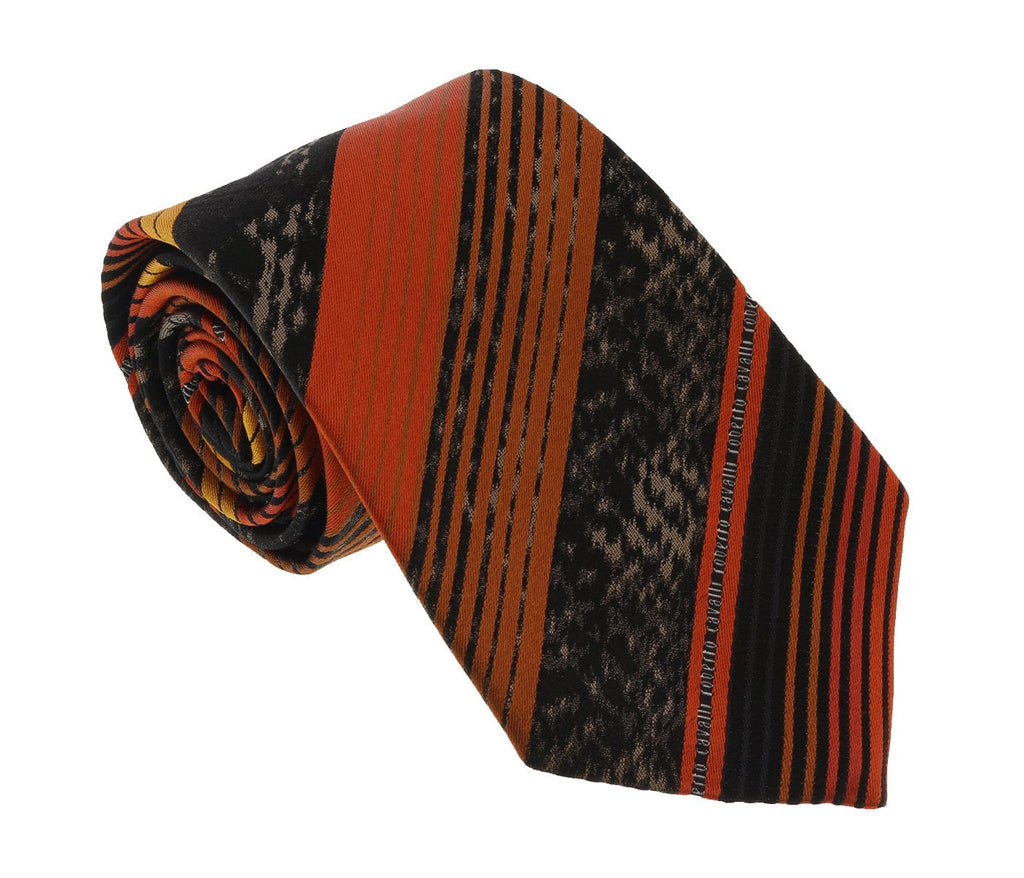 Roberto Cavalli ESZ039 01500 Orange Regimental Stripe Tie at 38.09