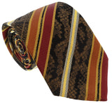 Roberto Cavalli ESZ044 D1431 Mustard/ Red Regimental Stripe Tie at 38.09