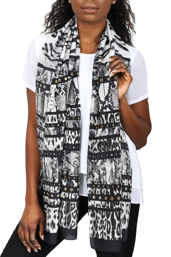 Roberto Cavalli C3802C930 230 Black Animal Print Scarf at 53.32