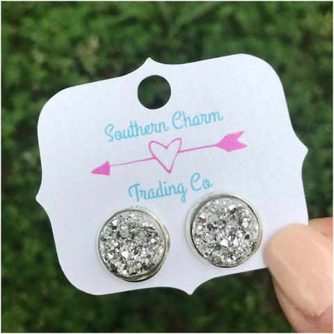 12mm Silver Stud Faux Druzy Earrings - Sweet Southern Sparkle