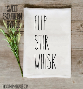Rae Dunn Inspired Flour Sack Kitchen Towel - Flip Stir Whisk - Sweet Southern Sparkle