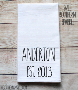 Rae Dunn Inspired Flour Sack Kitchen Towel - Personalized Last Name Towel - Sweet Southern Sparkle