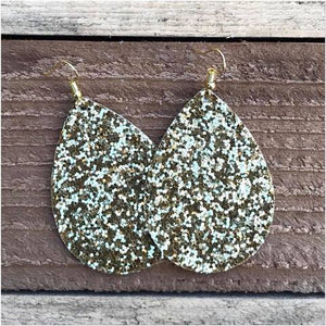 Gold Glitter Tear Drop Earrings