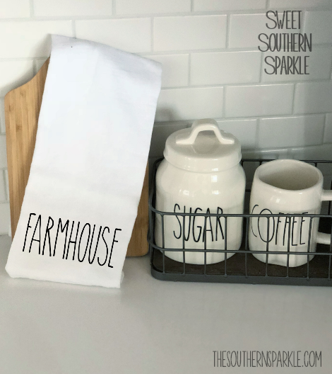 Rae Dunn Inspired Flour Sack Kitchen Towel - Farmhouse - Sweet Southern Sparkle