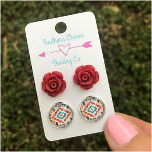 Floral Aztec Earring Set| Sweet Southern Sparkle| Boutique