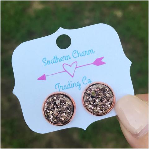 12 mm Rose Gold Faux Druzy Studs - Sweet Southern Sparkle