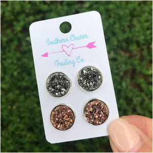 Rose Gold &  Gunmetal Faux Druzy Studs| Online Boutique