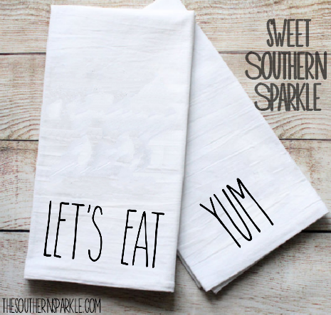 Rae Dunn Kitchen Towel Let's Eat and Yum