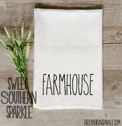 Rae Dunn Inspired Flour Sack Kitchen Towels - Set of two - Home Sweet Home & Farmhouse - Sweet Southern Sparkle