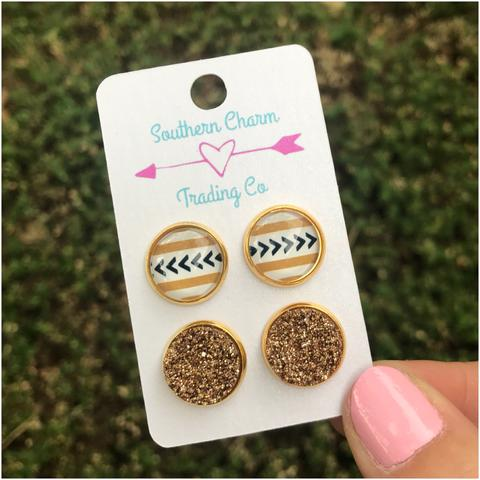 Aztec Gold Stud Earrings - Sweet Southern Sparkle