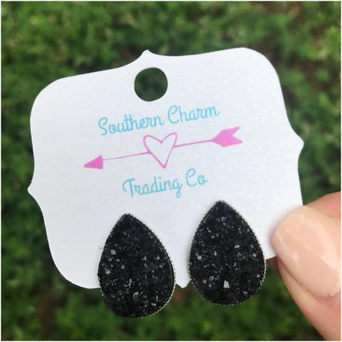 Black Teardrop Studs - Sweet Southern Sparkle