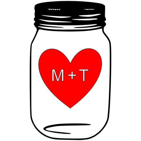Jar Heart Initials Decal - Sweet Southern Sparkle