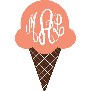 Ice Cream Cone Monogram Vinyl Decal