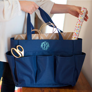Navy Monogram Utility Carry All Tote