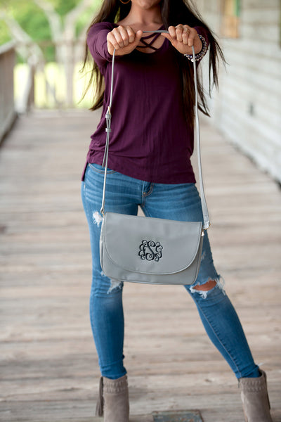 Gray Anna Cross body|Women Accessories|Bags|Purse|Embroidery