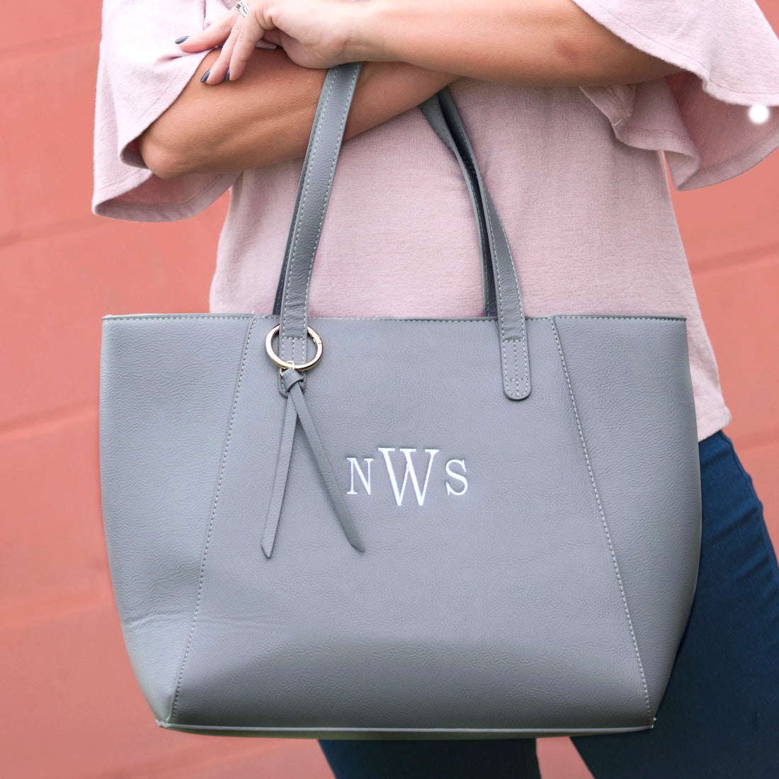 Grey Monogram Tote Purse| Sweet Southern Sparkle| Boutique