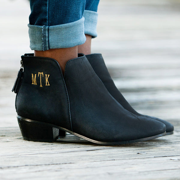 Hudson Black Short Boots|Fall Boots| Monogram Shoes