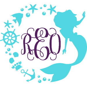 Mermaid Circle Monogram Decal