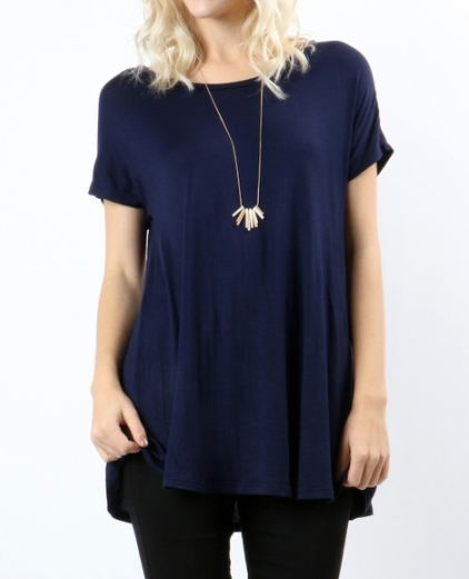 Lucy Flowy Tee| Boyfriend Tee| Navy Top| Women Clothing