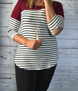Nora Burgundy Patch Top
