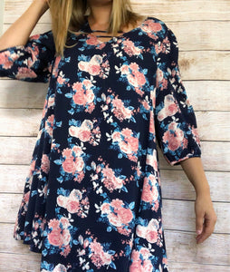 Natalie Dress|Women Clothing| Fall Dress| Navy Floral