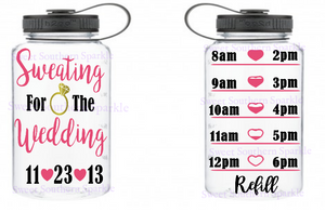 Sweating for the wedding water bottle motivation