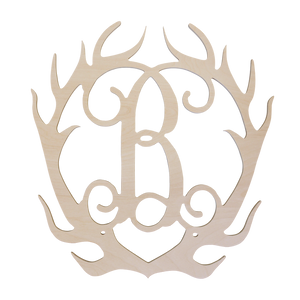 Single Initial Antler Wood Monogram