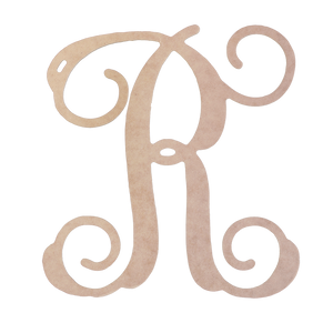 Single Initial Vine Wood Monogram
