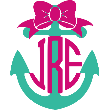 2 Color Monogram Anchor Decal - Sweet Southern Sparkle