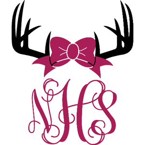 Personalized Vine Monogram Girl Antler Vinyl Decal Customize