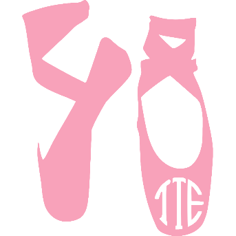 Ballet Slipper Monogram Vinyl Decal Personalized size and color