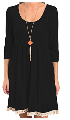 Black Quarter Sleeve Tunic Dress