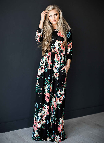 Black Floral Long Sleeve Maxi Dress - Sweet Southern Sparkle