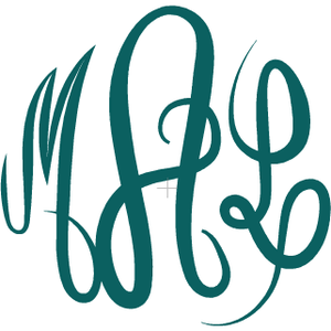 Curly Monogram Decal - Sweet Southern Sparkle